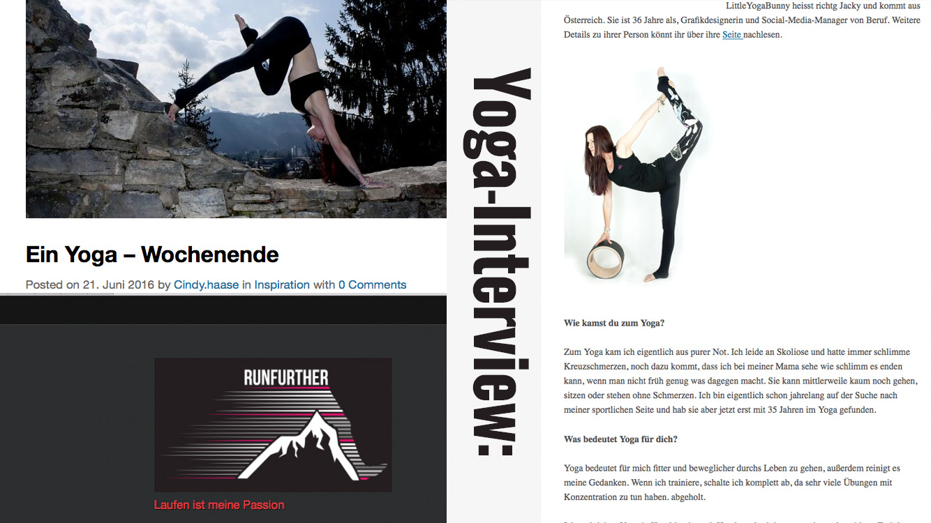 Yoga-Interview bei runfurther.de